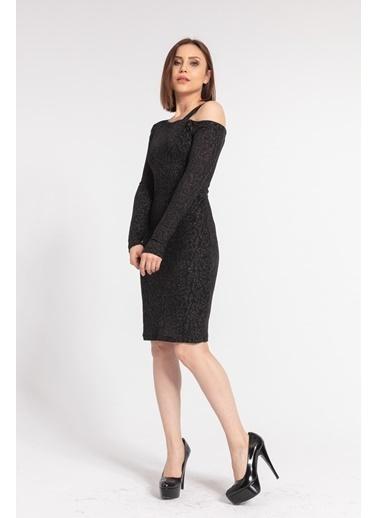 Jument Tek Omuz Uzun Kol Elbise -Siyah Siyah